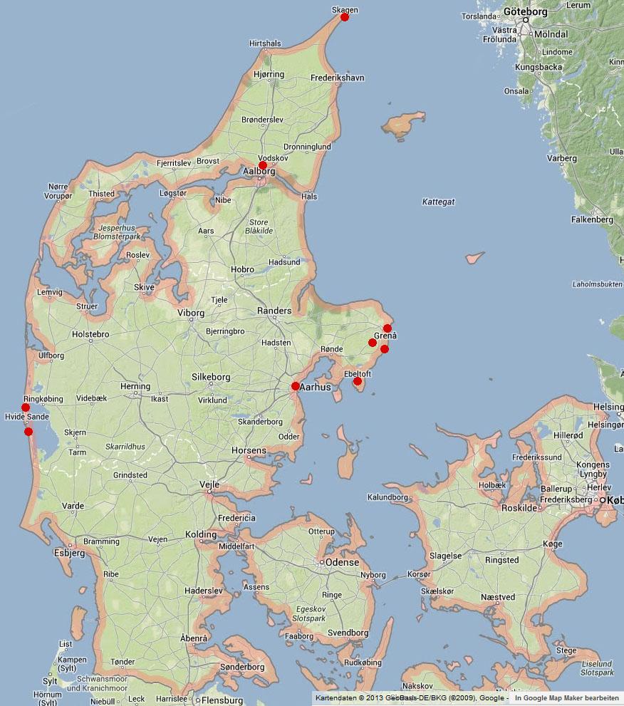 Karte Dänemark. Rot die besuchten Ziele