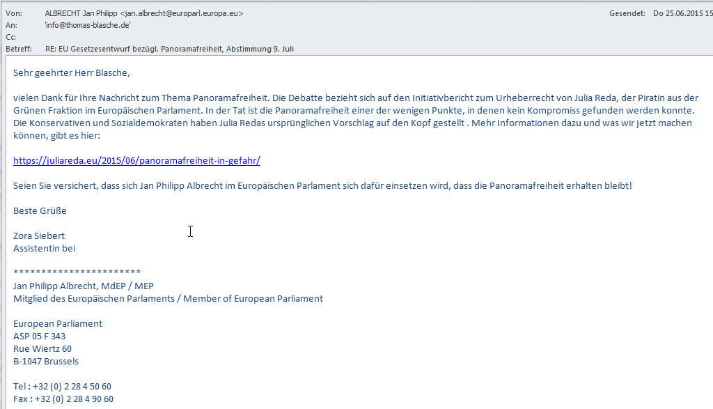 Antwort von Jan Philipp Albrecht