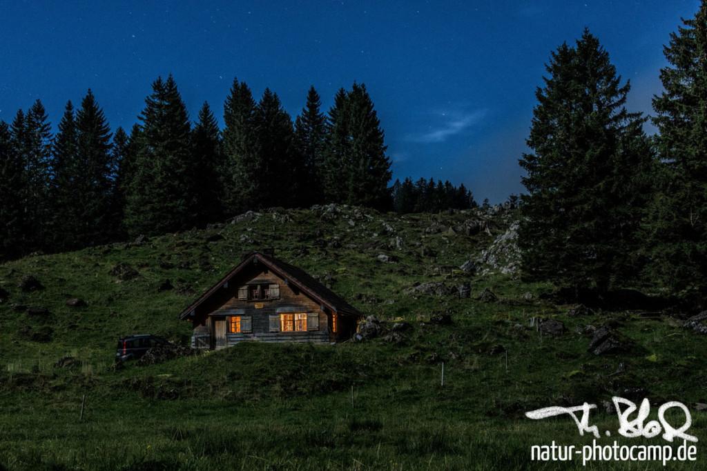 Alpstein - Hütte im Mondlicht