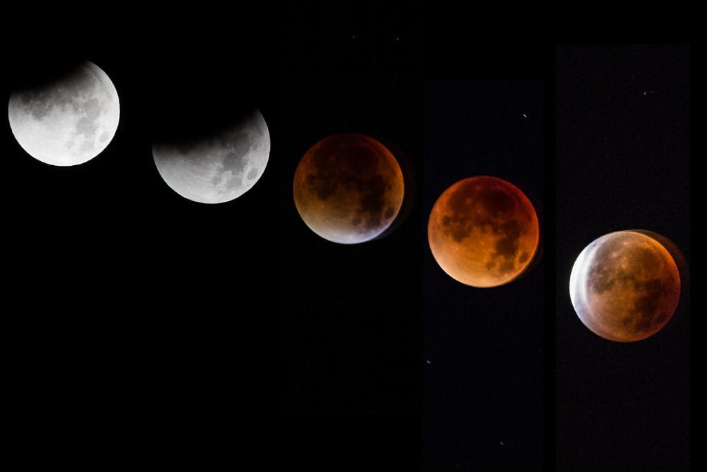 Die Phasen der Mondfinsternis aneinander gereiht