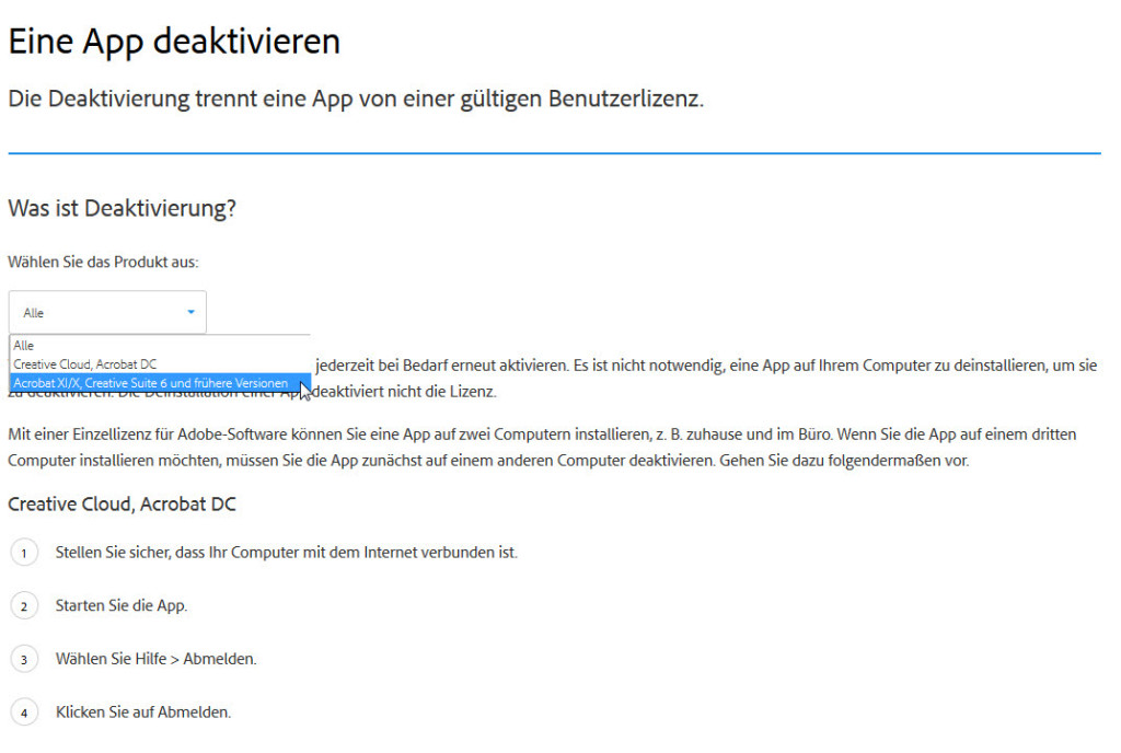 Hallo Adobe: Könnt ihr das mal auf Deutsch übersetzen?? Welches Produkt habe ich denn bitte?