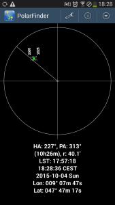 App Polarfinder mit Einstellung iOptron