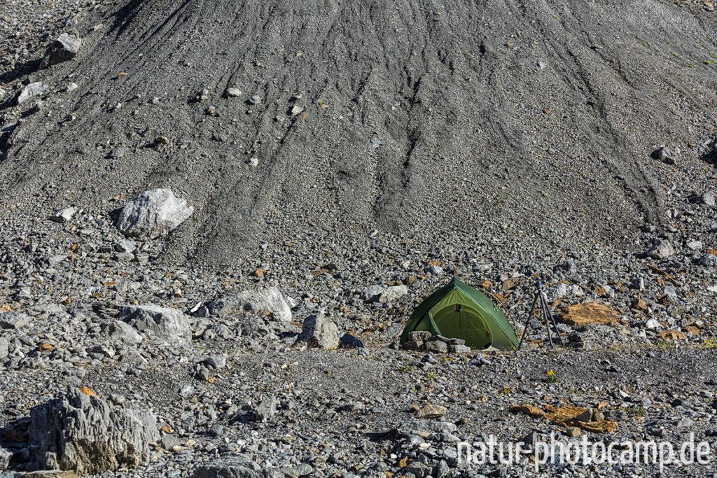 Biwakplatz in der Moränenlandschaft