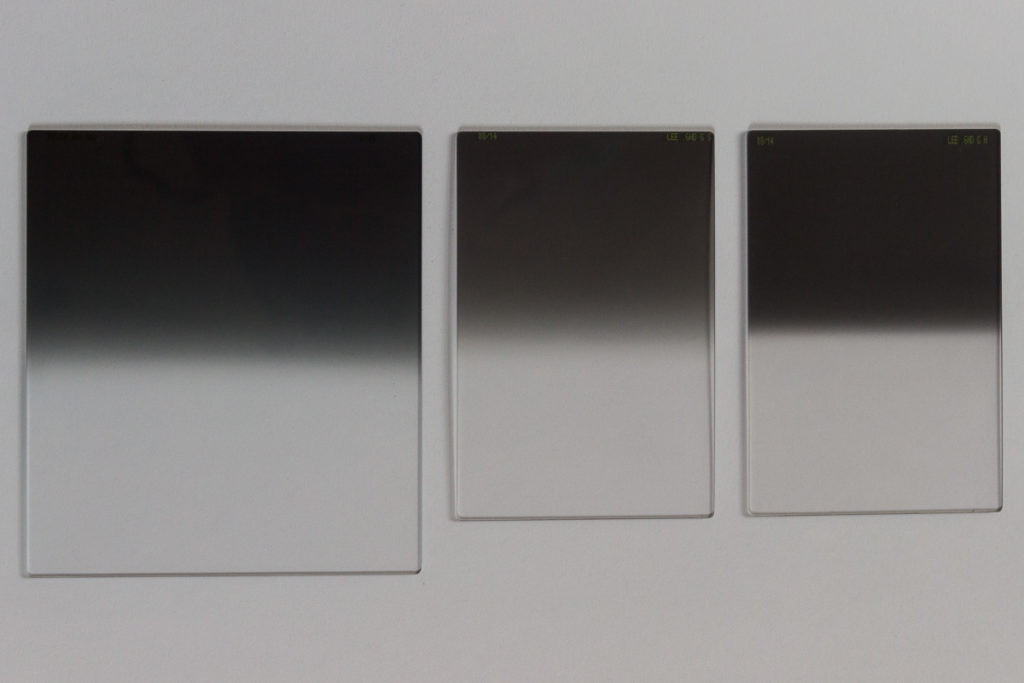 LEE Verlaufsfilter. Links: 0.6 Medium Grad, Mitte: 0.6 Soft Edge, Rechts: 0.9 Hard Edge