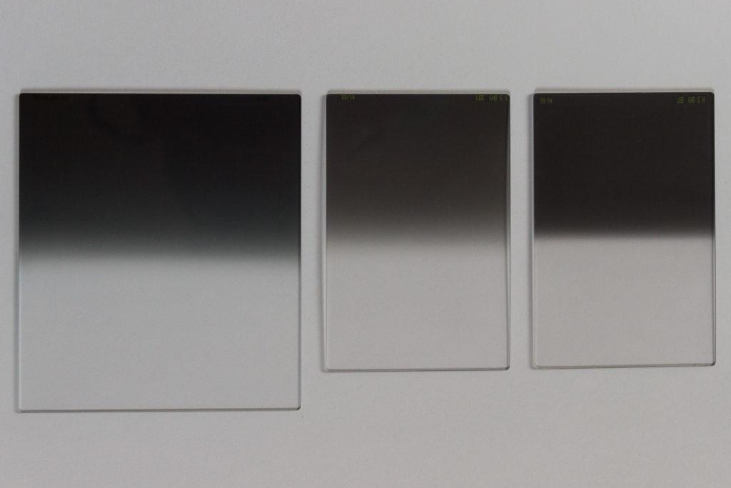 LEE Verlaufsfilter. Links: 0.6 Medium Grad, Mitte: 0.6 Soft Edge, Rechts: 0.9 Hard Edge
