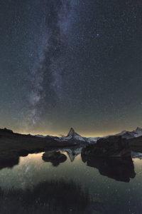Stellisee und Matterhorn. Acht Aufnahmen á 30 sec.